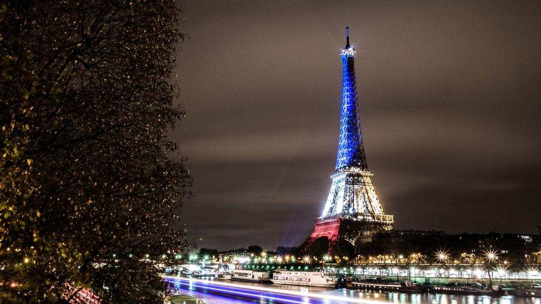 Illuminated Eiffel Tower post attacks