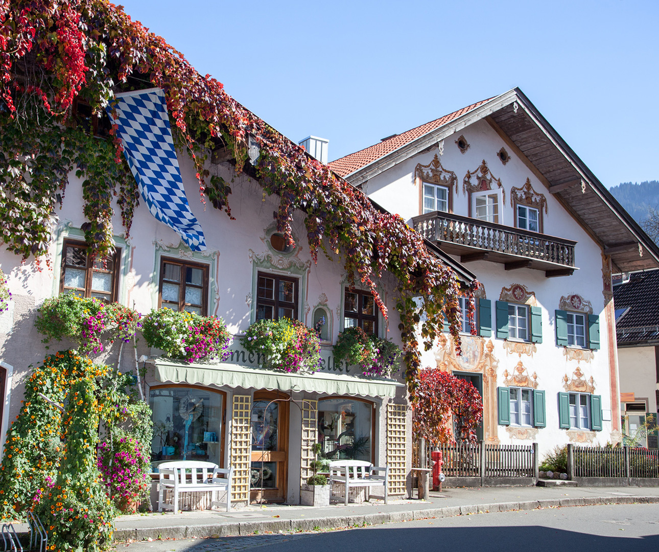 Explore Oberammergau hand-painted frescoes displayed on many homes and buildings around town