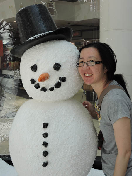 Yvonne with fake snowman in Sydney