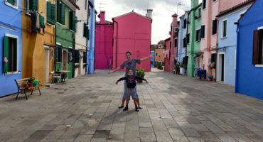 Ulla and son in Burano